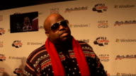 Jingle Bell Ball at 02 Arena backstage interviews Cee Lo Green talking to press Cee Lo Green interview SOT On his sunglasses had them made for him /...