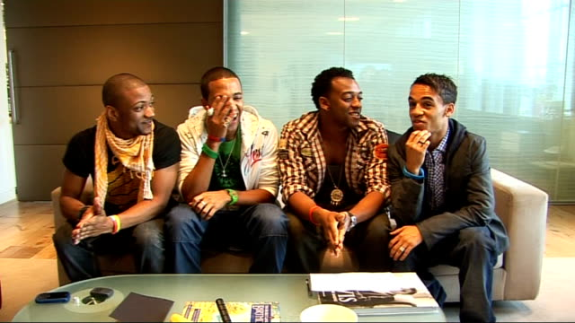 JLS interview ENGLAND London INT Oritse Williams Aston Merrygold Jonathan 'JB' Gill and Marvin Humes interview SOT On the new single 'Beat Again' /...