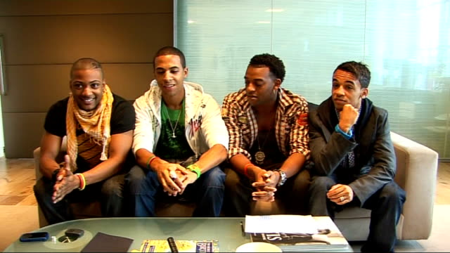 JLS interview Oritse Williams Aston Merrygold Jonathan 'JB' Gill and Marvin Humes interview SOT On the different characters within the group / On...