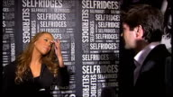 Mariah Carey interview ENGLAND London Selfridges Department store INT Mariah Carey interview SOT Good to be in London loves visiting here and tries...