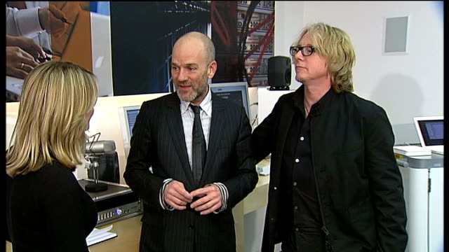 REM play small gig at Apple Store / interview Michael Stipe and Mike Mills ENGLAND London Regent Street Apple Store INT Michael Stipe and Mike Mills...