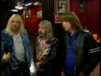 'Spinal Tap' interview ENGLAND London 100 Club INT Reporter with fictional heavy metal band 'Spinal Tap' David St Hubbins Derek Smalls Nigel Tufnel...