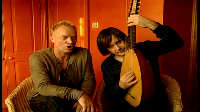 'Sting' to release album of lute music ENGLAND INT Sting sings Elizabethan song accompanied by Edin Karamazov SOT Sting interview SOT I practice 5 or...
