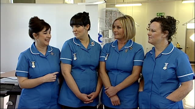 'The Nurses' interview and performing ENGLAND London Whittington Hospital INT 'The Nurses' singing group interview SOT rehearsals going well all work...