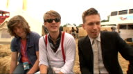 'V' Festival 2011 Hanson interview SOT On who is in charge they're in charge of different things On brothers and arguments only over the music On...