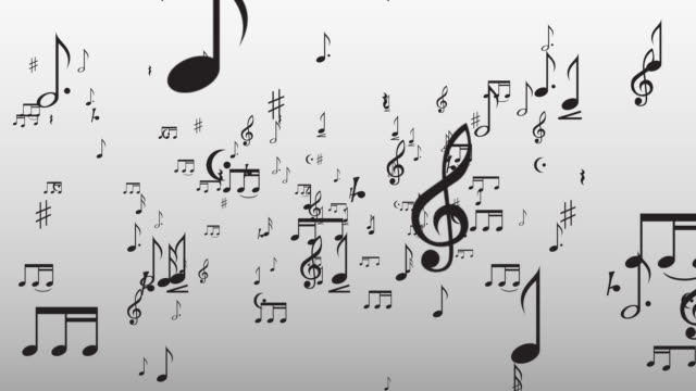 Musical Notes Flying Through The Camera