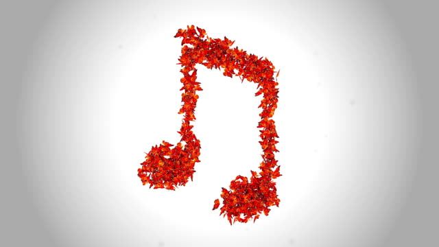 Simboli di note musicali effettuate da arancione farfalle-alfa