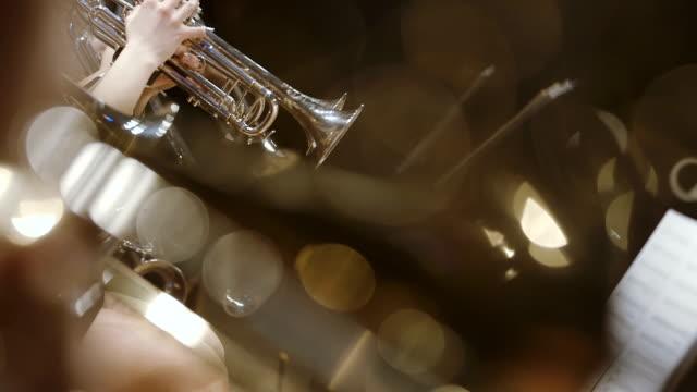 Musicus die hoorn spelen tijdens concert
