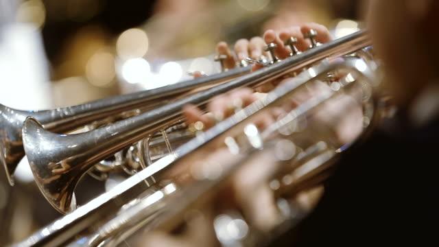 Musicista suona corno durante il concerto