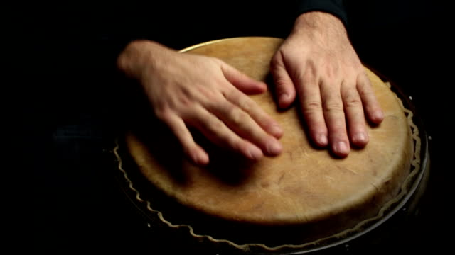 musician plays a rhythm with the conga, percussion instrument