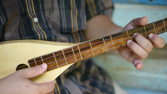 A musician plays mandolin at the vintage house.