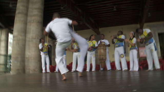 Musicians and dancers perform in Salvador, Brazil.