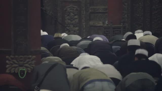 LS Muslim men praying in mosque/xian,shaanxi,China