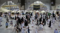 Muslim pilgrims touring the holy Kaaba in Mecca in Saudi Arabia