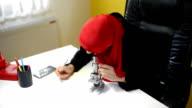 Muslim woman researcher.