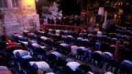 Muslim worshipers hold evening prayer outside Harem El Sharif / Temple mount in Jerusalem's old city keeping their refusal to enter Al Aqsa mosque...