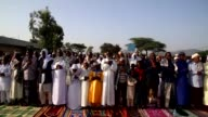Muslims perform Eid AlAdha prayer in Borama Somalia on September 02 2017 Eid alAdha known as the feast of the sacrifice recognizes Ibrahim's...