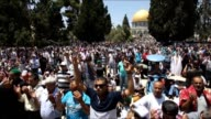 Muslims perform the third Friday prayer of the Islam's holy fasting month of Ramadan at AlAqsa Mosque on July 03 2015 in the Old City of Jerusalem...