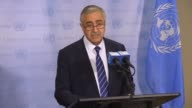 Mustafa Akinci the president of the Turkish Republic of Northern Cyprus holds a press conference after his meeting with United Nations Secretary...