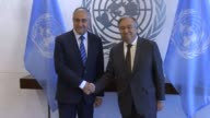 Mustafa Akinci the president of the Turkish Republic of Northern Cyprus meets with United Nations Secretary General Antonio Guterres at UN...