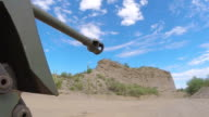 CU LA Muzzle Brake on M18 Hellcat tank with landscape and shooting range / Peoria, Arizona, United States