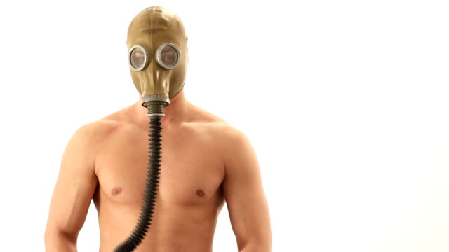 Naked man with gas mask