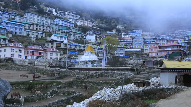 Namche Bazar village, Sagarmatha National Park, Himalayan Mountains, Nepal