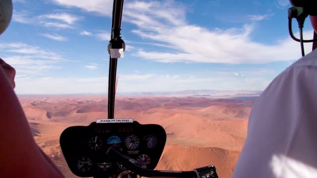 AERIAL Namibian Desert Through Helicopter's Window