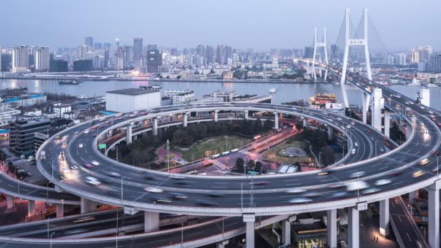 T/L WS HA PAN Nanpu Bridge Dusk to Night Transition / Shanghai, China