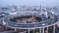 T/L WS HA ZO Nanpu Bridge Dusk to Night Transition / Shanghai, China