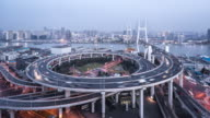T/L WS HA Nanpu Bridge Dusk to Night Transition / Shanghai, China