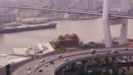 Nanpu Bridge, Huangpu River, highway, streets, traffic, cargo ship passing through, dragon boat, Shanghai, China