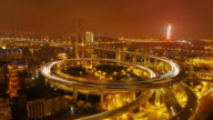 Nanpu Bridge, Huangpu River, night, traffic, city lights, Shanghai, China