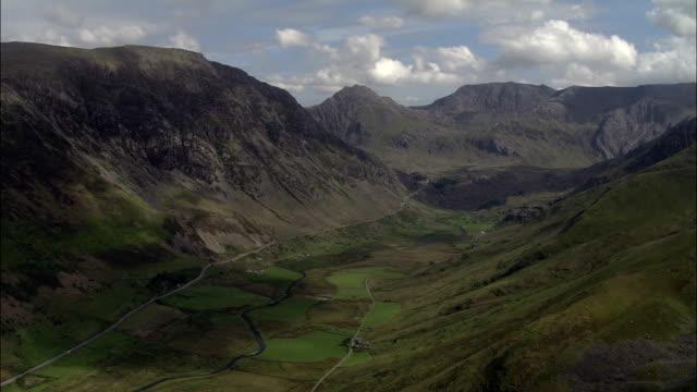 Nant Ffrancon Valley  - Aerial View - Wales, Caernarfonshire and Merionethshire, United Kingdom