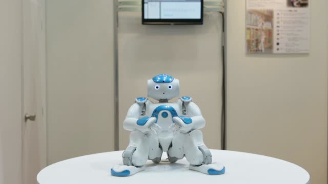 A Nao humanoid robot developed by Aldebaran Robotics sits on display at the International Robot Exhibition 2013 in Tokyo Japan on Wednesday Nov 6 A...