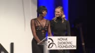 SPEECH Naomi Campbell and Anne V presents an auction at The Novak Djokovic Foundation New York Dinner at Capitale on September 10 2013 in New York...