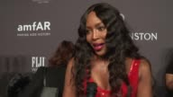 INTERVIEW Naomi Campbell talks about giving Donatella Versace an award at 19th Annual amfAR New York Gala at Cipriani Wall Street on February 08 2017...