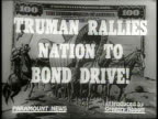 Narrated / 1949 Newsreel / Cold War / Title card reads TRUMAN RALLIES NATION TO BOND DRIVE / Harry Truman at Patriot's Day Dinner in Washington DC /...
