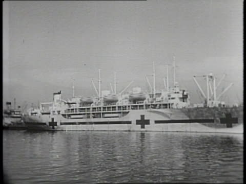 narrated / A ship named the SS Mary Luckenbach in San Francisco is shown with its bow destroyed / US Navy hospital ship Benevolence as seen before...