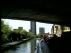 Narrow boat in Grand Union Canal goes under bridge and towards Trellick Tower