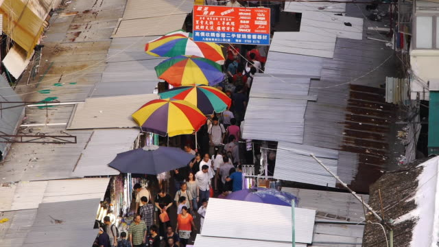 Narrow Shopping Street from above - Sham Shui Po - day