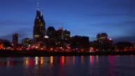 Nashville skyline along the banks of the Cumberland River