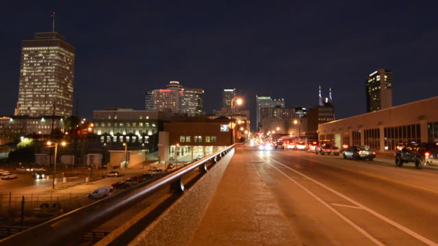 Nashville Tennesse night exposure of the skyline of the city from the West side with traffic and cars
