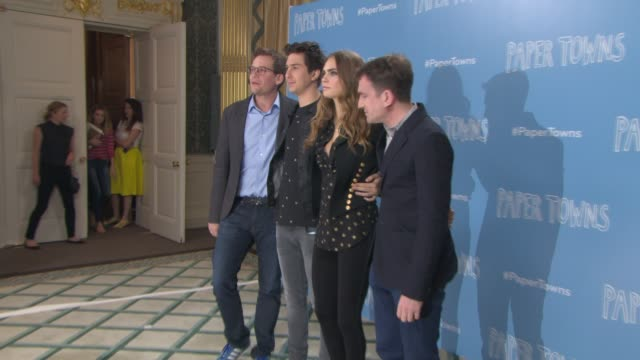 Nat Wolff John Green Cara Delevingne Jake Schreier at 'Paper Towns' Photocall on June 18 2015 in London England
