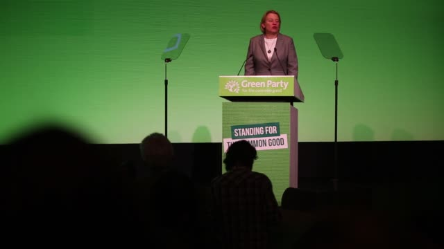Natalie Bennett leader of the Green Party addresses delegates during the partys spring conference in Liverpool UK on Friday March 6 2015