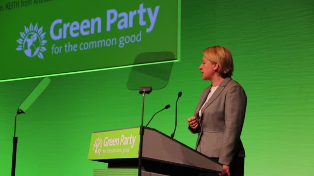 Natalie Bennett leader of the Green Party addresses delegates during the partys spring conference in Liverpool UK on Friday March 6 2016
