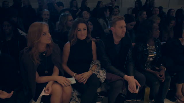 Natalie Pinkham and SarahJane Mee attend the David Ferreira show during London Fashion Week Autumn/Winter 2016/17 at on February 19 2016 in London...