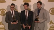 SPEECH Nate Ruess Andrew Dost Jack Antonoff on what the event means to them at The 55th Annual GRAMMY Awards Press Room 2/10/2013 in Los Angeles CA