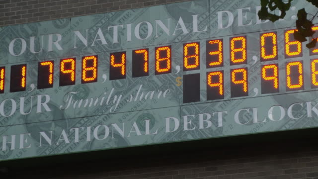 CU ZO National Debt Clock - running total dot-matrix display showing current United States gross national debt, Sixth Avenue, Manhattan / New York City, New York, USA