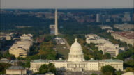 LOW AERIAL National Mall, Washington Monument, Library of Congress, U.S. Capitol and U.S. Supreme Court buildings, Washington D.C., USA